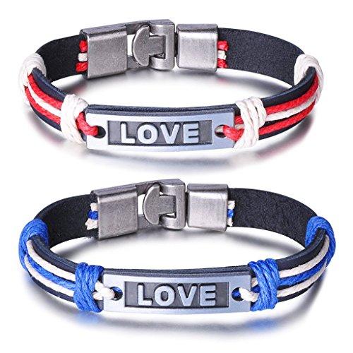 Unendlich U Fashion LOVE Paar Armband Armreif Partner Armbänder Geflochten Leder Legierung Manschette Armschmuck, Rot/Blau -
