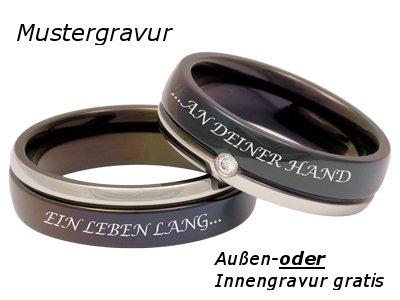 Zwei Partnerringe, Verlobungsringe oder Eheringe mit Gratis Lasergravur - Bicolor -
