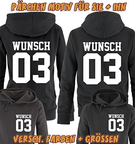 Comedy Shirts - WUNSCH - Damen Hoodie - Schwarz / Weiss Gr. S -