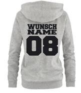 Luckja Wuschnummer & Wunschname Pullover Pärchenhoodie Grau-Schwarz Grösse M -