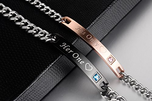 AmorFeel His Only Her One Edelstahl his und Hers Paar Armband (2) -