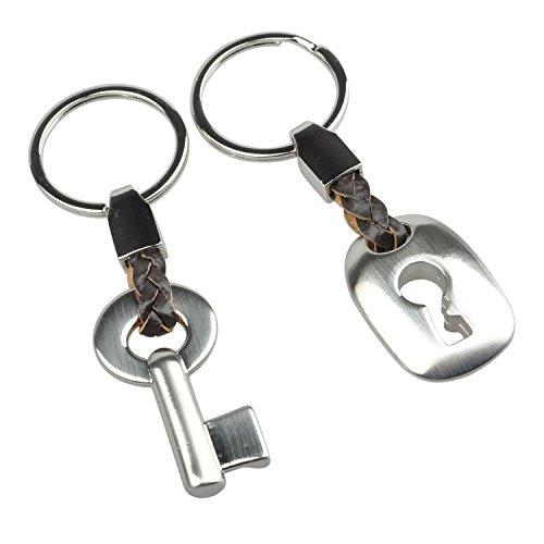 Buwico modernes Design Lock Schlüsselanhänger Ring Schlüsselanhänger für Partner Geschenk Legierung Silber 10cm/10cm Länge -