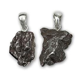 CLEVER SCHMUCK Silberne Partneranhänger, 2 ECHTE STERNSCHNUPPEN - Meteoriten, Schlaufe glänzend aus STERLING SILBER 925 -