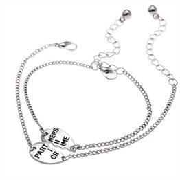 """Contever® 1 Paar Jewelry Ewige Liebe Edelstahl Armband Gravur mit """"Partners In Crime"""" - und ist ideal zum Verschenken -"""