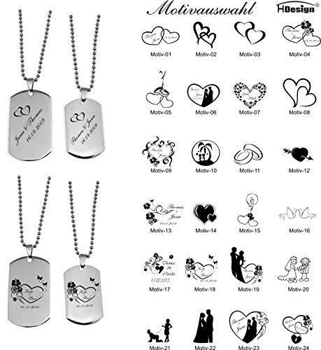 DogTags Erkennungsmarken Silber Partner für Sie und Ihn mit Gravur Wunschtext, viele schöne Motive zur Auswahl. -