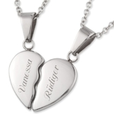 Edelstahl Freundschaftsketten Herz-Anhänger mit persönlicher Laser-Gravur und 2 Halsketten 45 cm / 50 cm -