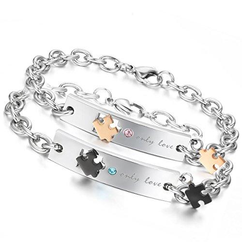 Flongo 2 PCS Only Love Edelstahl Armband Link Handgelenk Silber Schwarz Rose Gold Puzzle Rätsel Panzerkette Kette Herren,Damen -