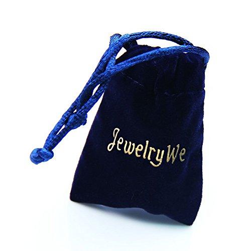 JewelryWe Schmuck 2 Freundschaftsketten Krone Ring Edelstahl Partner-Anhänger mit 45cm und 54cm Kette, Halskette für Damen & Herren, Gold Schwarz Silber -