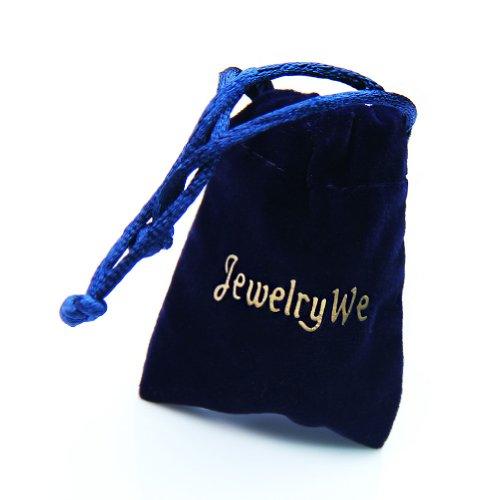 JewelryWe Schmuck 2 Freundschaftsketten Tai Chi Yin und Yang Edelstahl Partner-Anhänger mit 45cm und 55cm Kette, Halskette für Damen & Herren, Weiß Schwarz -