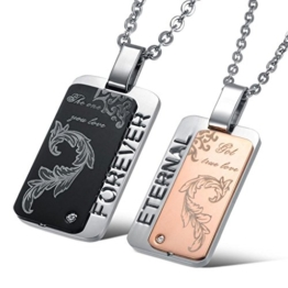 Jewow Schmuck Edelstahl Verliebte Paar Halskette Anhänger mit Hohl Gravur für Sie und Ihn -
