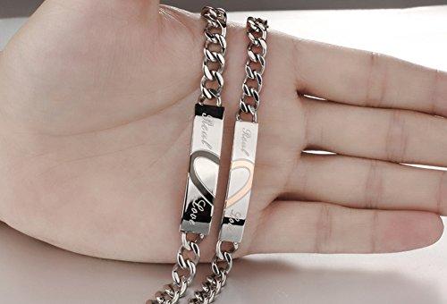 Jewow Schmuck Edelstahl Verliebte Herz Paar Ketten Armreifen mit Gravur für Sie und Ihn -