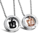 Kim Johanson Pärchen Halsketten für verliebte aus Edelstahl mit Ring & Krone und Gravur inkl. Schmuckbeutel -