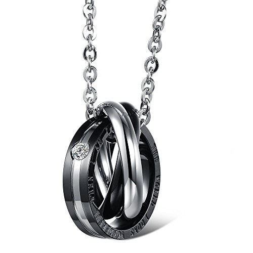 """Kim Johanson Pärchen Halsketten """"Wonderful"""" für verliebte aus Edelstahl mit jeweils drei Ringen und Gravur Schmuckset inkl. Schmuckbeutel -"""