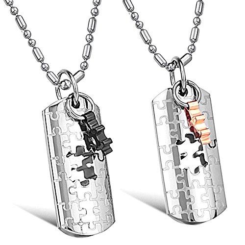 Kim Johanson Pärchen Halsketten für verliebte aus Edelstahl Puzzle Love inkl. Schmuckbeutel -
