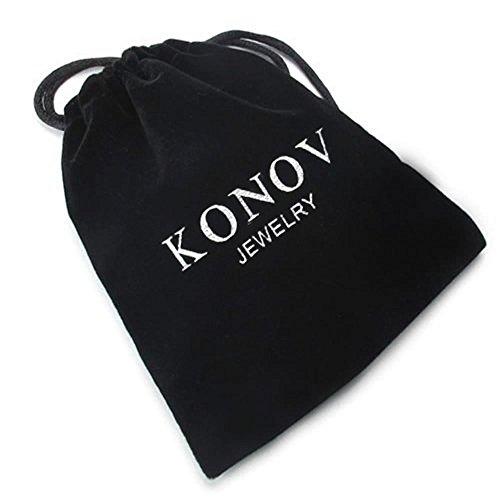 KONOV Schmuck 2 Freundschaftsketten Tai Chi Yin und Yang Edelstahl Partner-Anhänger mit 45cm und 55cm Kette, Halskette für Damen & Herren, Weiß Schwarz -
