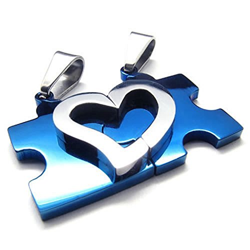 KONOV Schmuck 2 Freundschaftsketten Herz Puzzle Love Edelstahl Partner-Anhänger mit 45cm und 55cm Kette, Halskette für Damen & Herren, Blau Silber -