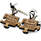 Lieblingsmensch 2er Set Gravur Partner Schlüsselanhänger aus Holz - Modell: Puzzle -