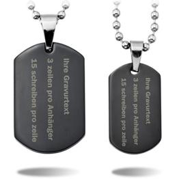 MeMeDIY 2 Stückes Schwarz Edelstahl Anhänger Halskette Dog Tag Partner - Kundenspezifische Gravur -