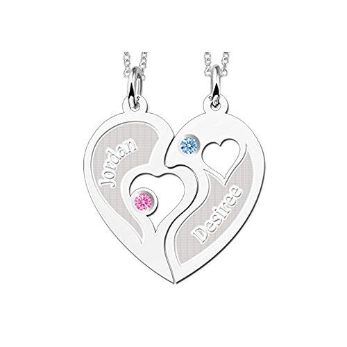 Namesforever Partnerkette Set 2 Anhänger Halbes-Herz mit Namensgravur und 2 Ketten 45-50 cm aus Silber -