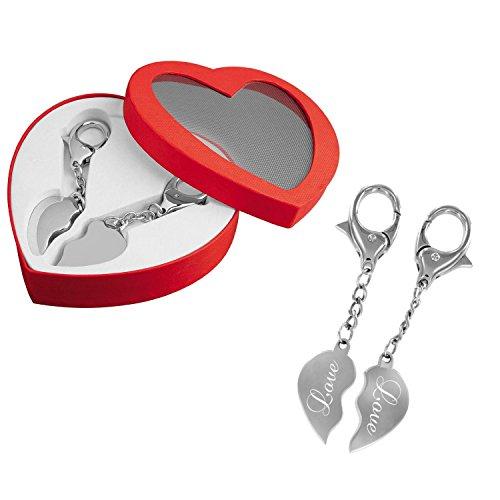 Partner-Schlüsselanhänger – Ein Herz für zwei – das perfekte Liebes-Geschenk mit Gravur: LOVE -