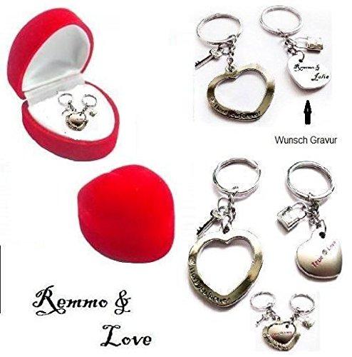 Remmo&Love Partner Herz Anhänger mit Strass und Schlüssel, mit Gravur -