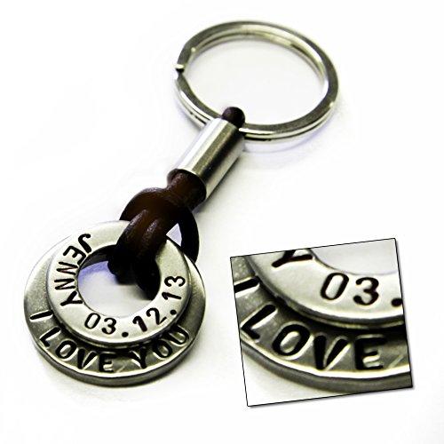 Schlüsselanhänger aus Edelstahl mit Lederband und Text Gravur -