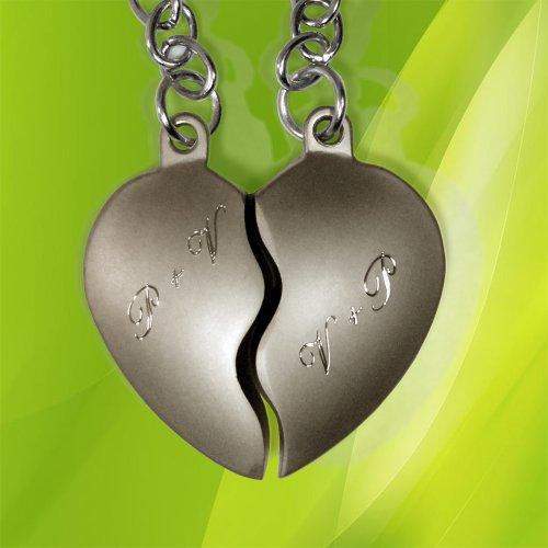 Schlüsselanhänger geteiltes Herz (Groß) mit Gravur. 2 in 1 Duo Schlüsselanhänger in Liebe und Freundschaft -
