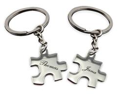 """Schlüsselanhänger """"Partner Puzzle"""" mit Gravur Wunschname -"""