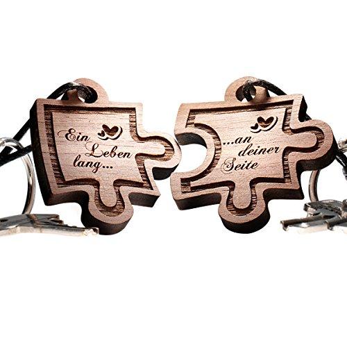 Schlüsselanhänger Puzzle aus Holz - vorgraviert mit: Ein Leben lang... -