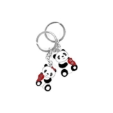 Süßer Panda Schlüsselbund mit Metall Schlüsselanhänger (2 Stück) -