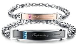 "Très Chic Mailanda 2 Edelstahl Partner Armband "" keep me in your heart"" Freundschaft Armreif Schmuck Armkette (One Size, ES175) -"
