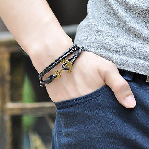 Unendlich U Fashion Damen Herren Geflochten Leder Legierung Armband Multilayer Bronze Anker Armreifen, Schwarz -