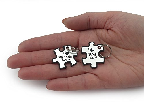 Wunderschöner Partner Puzzle Schlüsselanhänger Acryl Silber oder Gold inkl. Gravur Wunschname (silber) -