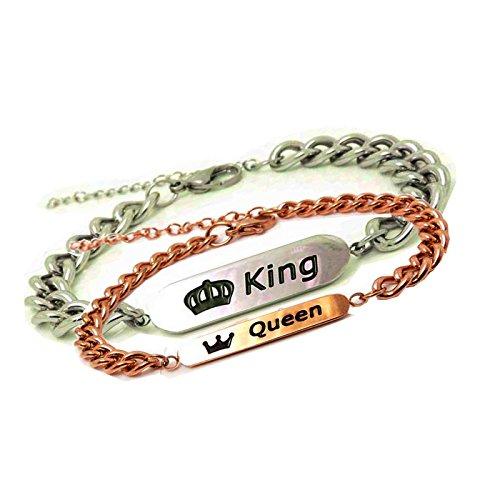 """YAMA """"Queen"""" und """"King"""" Schrift mit Lasergravur ein Paar Partner Ambänder aus Edelstahl -"""