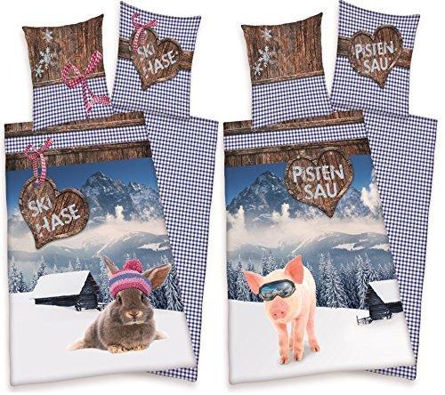 2 x Partner Bettwäsche Skihase + Pistensau Ski Urlaub Winter Party 135 x 200 NEU WOW – All-In-One-Outlet-24 – -