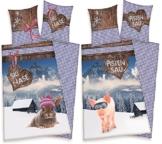 2 x Partner Bettwäsche Skihase + Pistensau Ski Urlaub Winter Party 135 x 200 NEU WOW - All-In-One-Outlet-24 - -