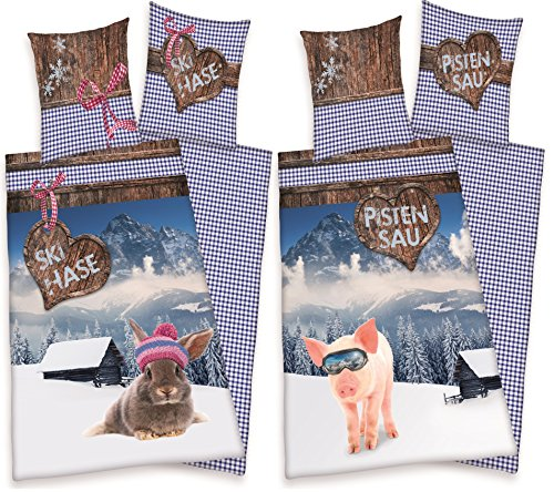 2 x Partner Bettwäsche Skihase + Pistensau Ski Urlaub Winter Party 135 x 200 NEU WOW - All-In-One-Outlet-24 - -