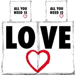 4 tlg Bettwäsche 135 x 200 cm Herzen Love Partner schwarz weiß Microfaser 2 Garnituren M13 -