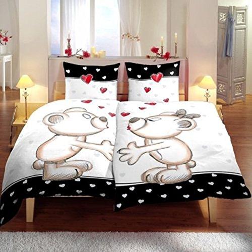 4 tlg. Bettwäsche 135 x 200 cm in schwarz/weiß aus Microfaser (Premiumdruck) -
