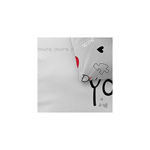 4-tlg. Bettwäsche-SET | verschiedene Größen | 4-Jahreszeiten Baumwolle Renforcé OEKO-TEX | 4-teiliges SET 135 x 200 cm | CelinaTex 5000390 Fashion 4 teilig Du & Ich Weiß Grau Rot Herz Wende-Design -