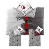4-tlg. Bettwäsche-SET   verschiedene Größen   4-Jahreszeiten Baumwolle Renforcé OEKO-TEX   4-teiliges SET 135 x 200 cm   CelinaTex 5000390 Fashion 4 teilig Du & Ich Weiß Grau Rot Herz Wende-Design -