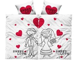 4 tlg. Partner Bettwäsche 135 x 200 cm Microfaser Married Hochzeit Sweet Love (Premiumdruck) -