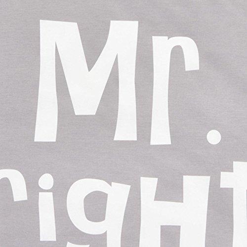Bettwäsche-Set Schriftzug Mr. Right Mrs. Always Right 100% Baumwolle grau-weiß 135 x 200 4-teilig -