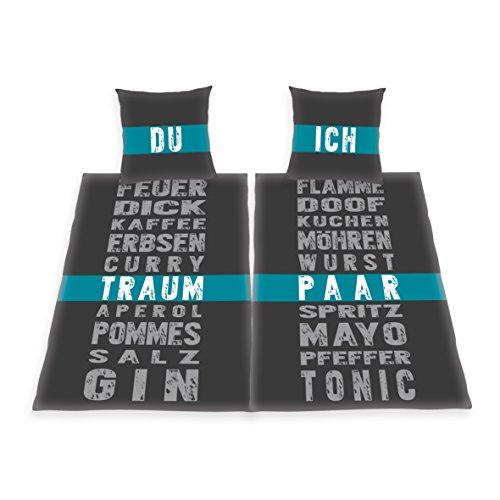 Herding 4259227250 Traumpaar Partnerbettwäsche, Polyester-Baumwolle, schwarz, 135 x 200 cm -