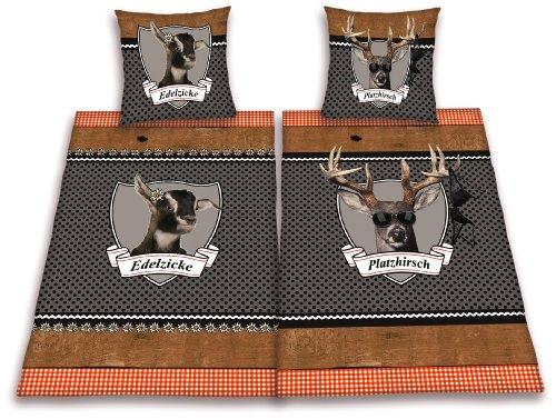 Herding 445958239 Partner-Bettwasche Platzhirsch/Edelzicke im Doppelpack ( Inhalt: 1 x Bettwasche Edelzicke. 1 x Bettwasche Platzhirsch ), 80 x 80 cm + 155 x 220 cm. Übergröße, Renforce -