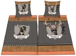 Herding 445958250 Partner-Bettwasche Platzhirsch/Edelzicke im Doppelpack ( Inhalt: 1 x Bettwasche Edelzicke. 1 x Bettwasche Platzhirsch ), 80 x 80 cm + 135 x 200 cm, Renforce -