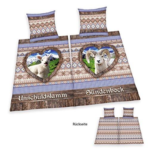 Herding 445993250 Bettwäsche Unschuldslamm, Sündenbock Partnerpack, Kopfkissenbezug: 80 x 80 cm und Bettbezug: 135 x 200 cm, 100 % Baumwolle, Renforce, Übergröße -
