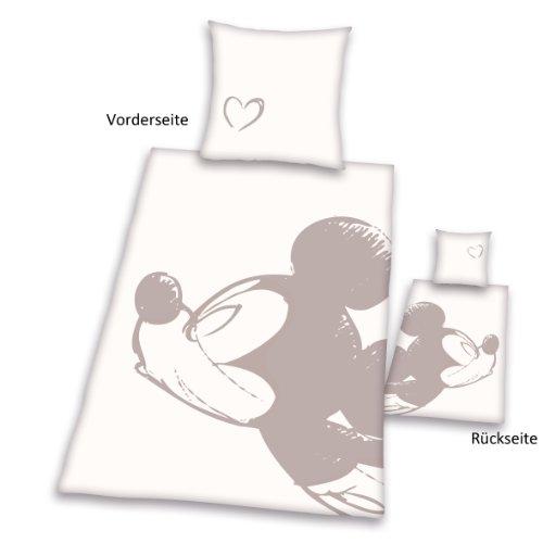Herding 447840050 Partner Bettwäsche Mickey Mouse, Kopfkissenbezug 80 x 80 cm und Bettbezug 135 x 200 cm, 100 % Baumwolle, Renforce -
