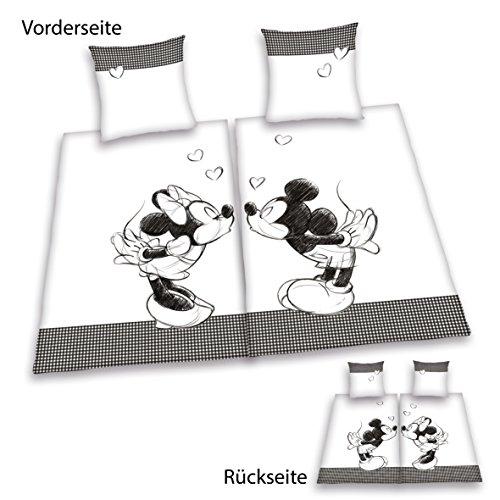 Herding 447862250 Partner Bettwäsche Mickey Mouse und Minnie Mouse, Doppelpack, 1 x Bettwäsche Mickey Mouse, 1 x Bettwäsche Minnie Mouse, 80 x 80 cm + 135 x 200 cm, Renforce -