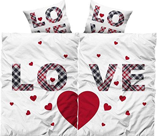 Leonado Vicenti 4 teilig Love Partner Bettwäsche 135×200 cm Doppelpack Microfaser Bezüge Pärchen Herz Liebe mit Reißverschluss -